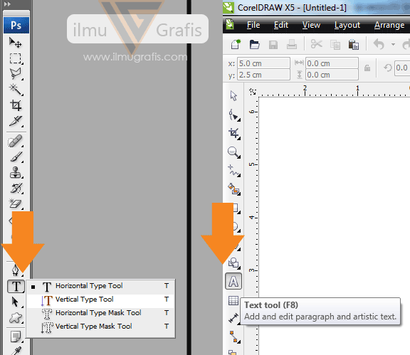 Perbandingan Text Tool Photoshop dan Corel