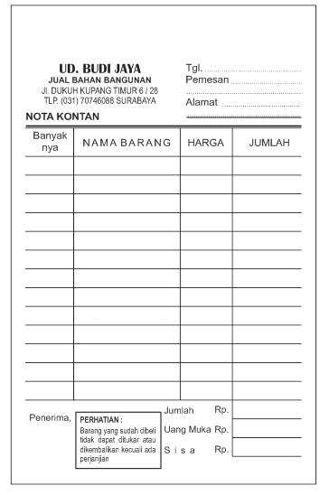 """Contoh Nota Penjualan Toko Bangunan """"Budi Jaya"""""""