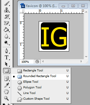 rounded rectangle tool dan gambar favicon
