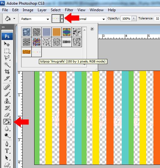 pattern lolipop di lembar kerja