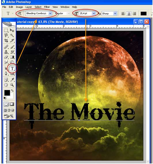 Text Tool dan ketik The Movie