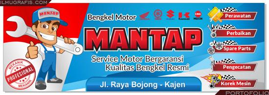 Desain banner bengkel motor