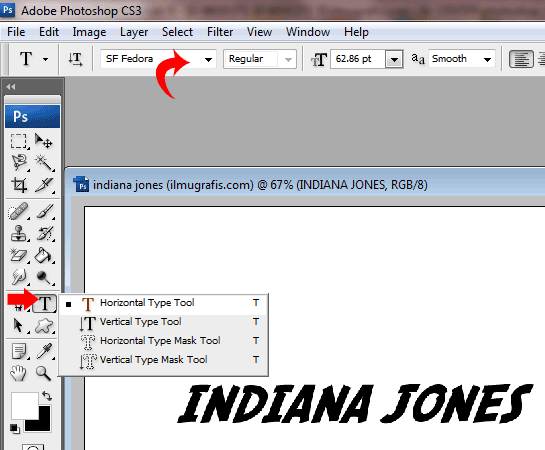 text indiana jones
