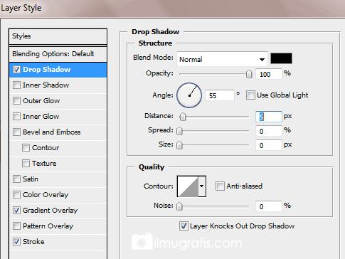 Pengaturan Drop Shadow