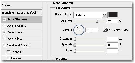 setting drop shadow